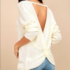 Windsor white knit knit twist back sweater
